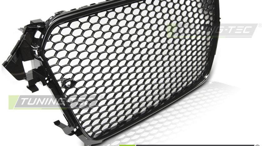 Grila fagure RS AUDI A4 B8 Facelift 11.11-15 negru lucios cu loc PDC