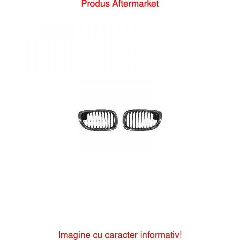 Grila radiator Bmw Seria 3 (E46), Coupe/Cabrio 03.2003-09.2006, stanga, crom/crom/negru, 51137064317, 201105-1 Kft Auto