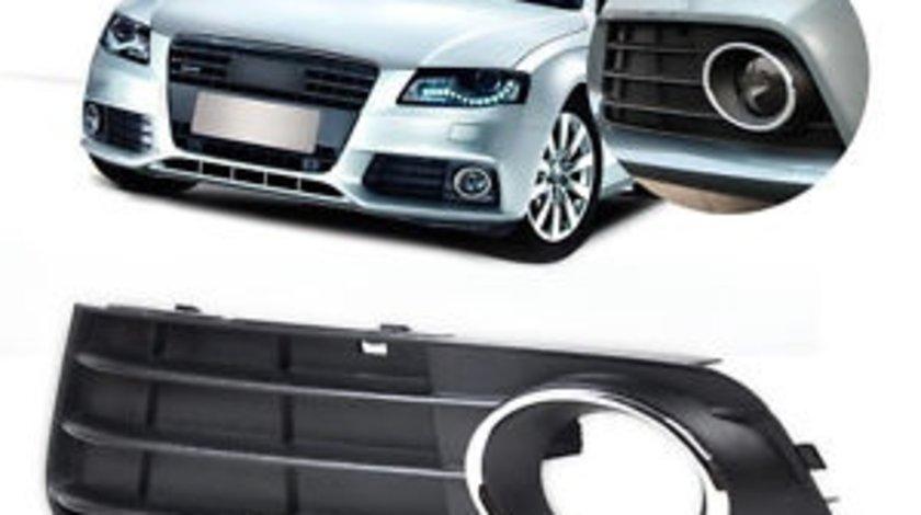 Grila spoiler Audi A4 B8 2007-2011, Stanga, grila Far ceata cu element cromat 8K0807681A