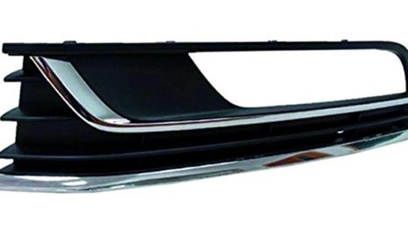 Grila spoiler VW Passat (B7 (36)), 11.2010-2015, Stanga, 3AA854661A9B9, 95D127-7 cu locas pentru proiectoare, 2 insertii crom, gri inchis langa proiector, pentru modele Confortline