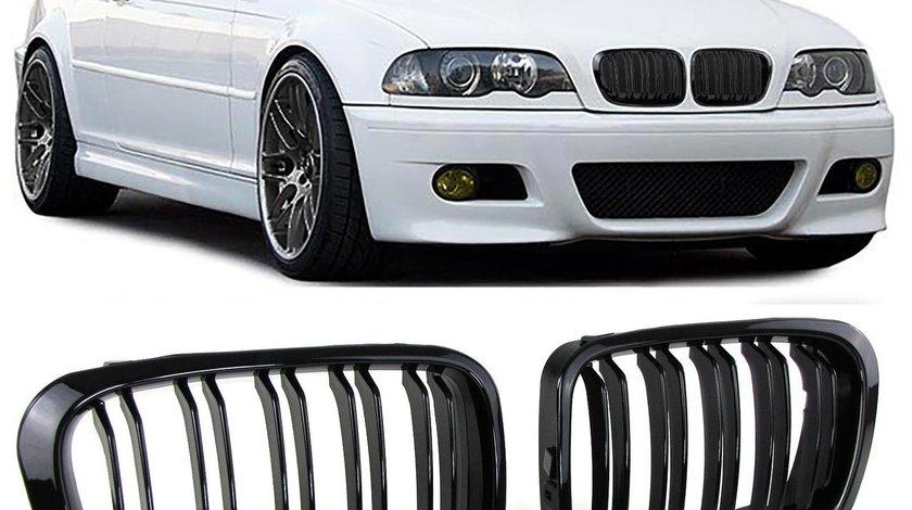 Grila sport BMW E46 1998-2001 Sedan Touring Dublu Negru Lucios