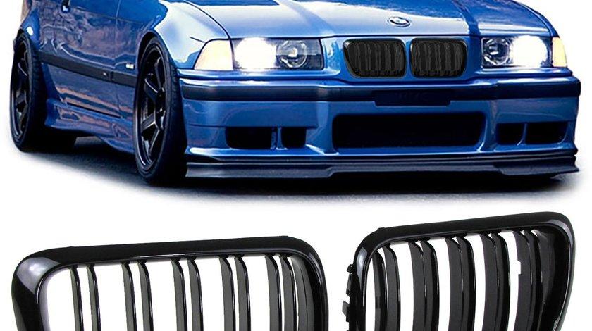Grila sport BMW seria 3 E36 Facelift intre 1996-1999 Negru lucios Dublu