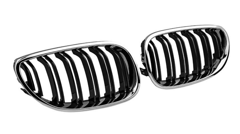 Grile duble BMW Seria 5 E60/ E61 (03-10) CROM-BLACK
