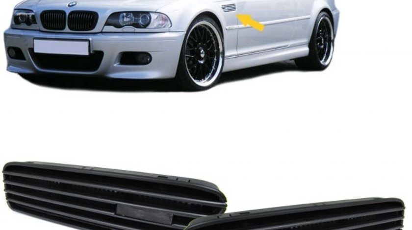 Grile laterale aripi BMW E46 M3 set complet cu sablon si rame