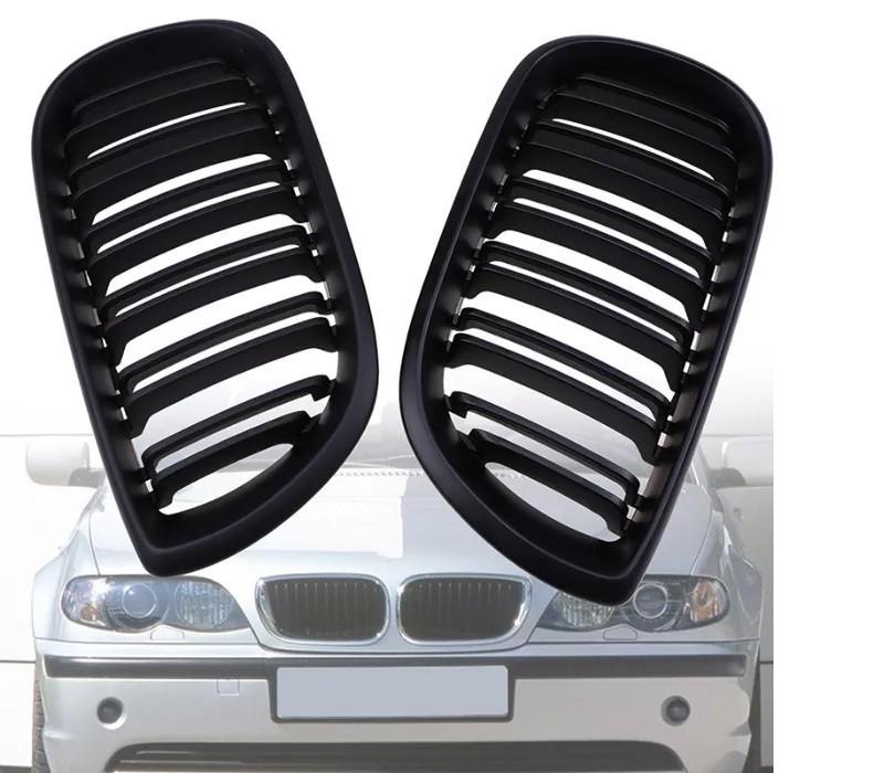 Grile M Design Duble BMW E46 4 USI 2001-2005 (Facelift) Negru Lucios