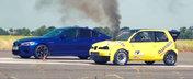 Hatchback-ul diesel care afuma un BMW M5 de ultima generatie. VIDEO