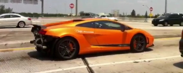 HOT VIDEO: Un Lamborghini Gallardo isi arata turbinele pe strazile din Miami