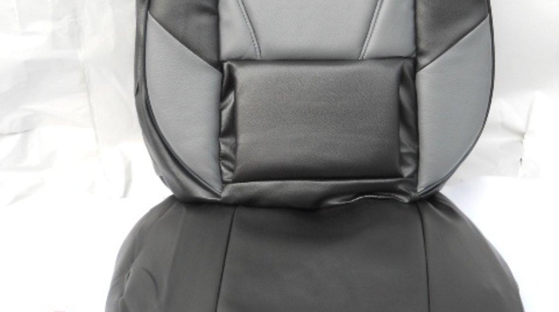 Husa auto imitatie de piele de culoare negru cu gri
