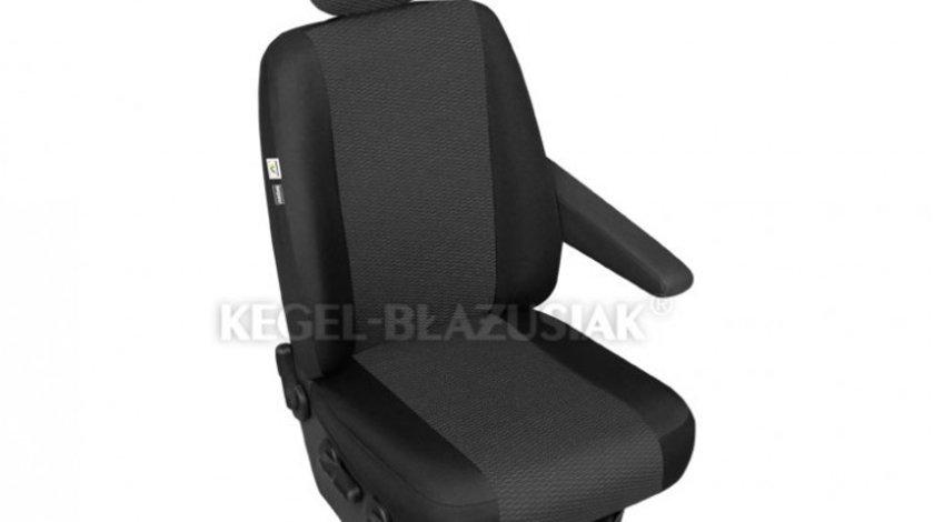 Husa scaun auto sofer Ares Trafic pentru Citroen Jumpy, Fiat Scudo, Ford Transit, Mercedes Vito, Opel Vivaro, Vw T6, cu decupaj cotiera pe partea stanga