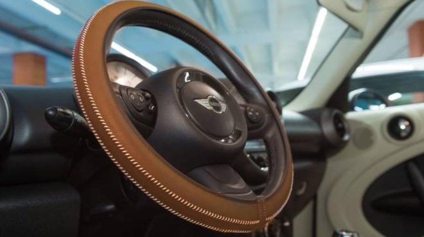 Husa volan Artisan , Handmade, din piele sintetica, diametru 37-39 cm , Culoare Tabacco Maro Kft Auto