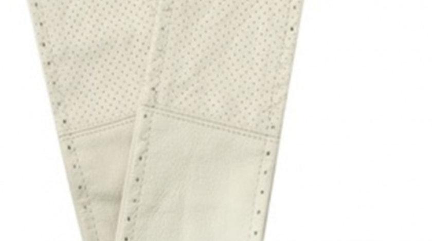 Husa volan cu snur din piele naturala perforata de culoare crem , marime XL 41-43 cm