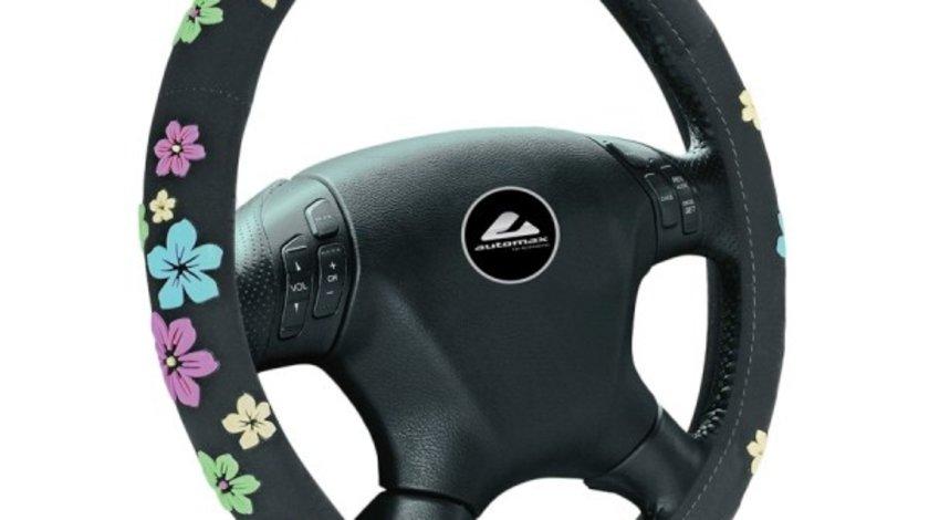Husa volan de culoare neagra cu imprimeu floral, diametru 37-39cm, material textil, marca Automax Kft Auto