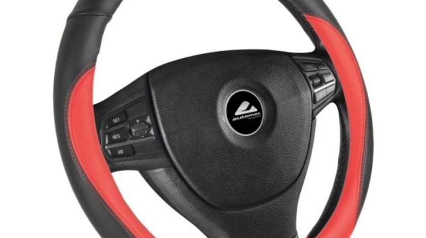 Husa volan de culoare neagra cu insertii de culoare rosie, diametru 37-39cm, material cauciucat, marca Automax Kft Auto