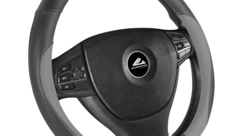 Husa volan de culoare negru cu gri, diametru 37-39cm, material cauciucat, marca Automax