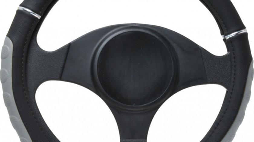 Husa volan negru cu gri , material cauciucat cu perforatii, diametru 37-39 cm