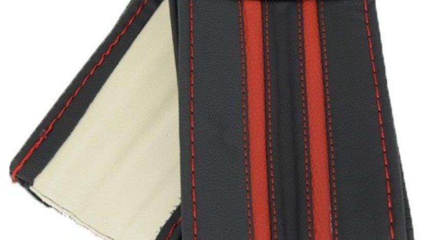 Husa volan piele naturala de Vitel - Autolux cu ac si ata, cu 2 dungi ROSII, marimea M Premium