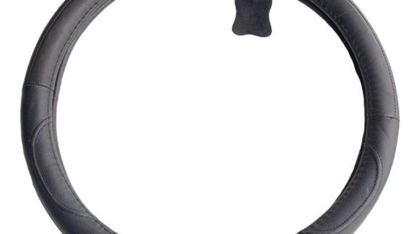 Husa volan piele neagra 37-39 cm