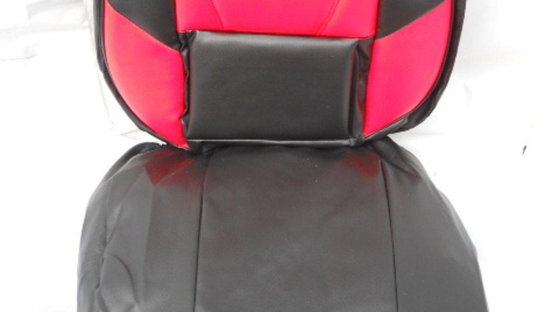 Huse auto imitatie piele rosu ,negru,gri,albastru,galben set complet