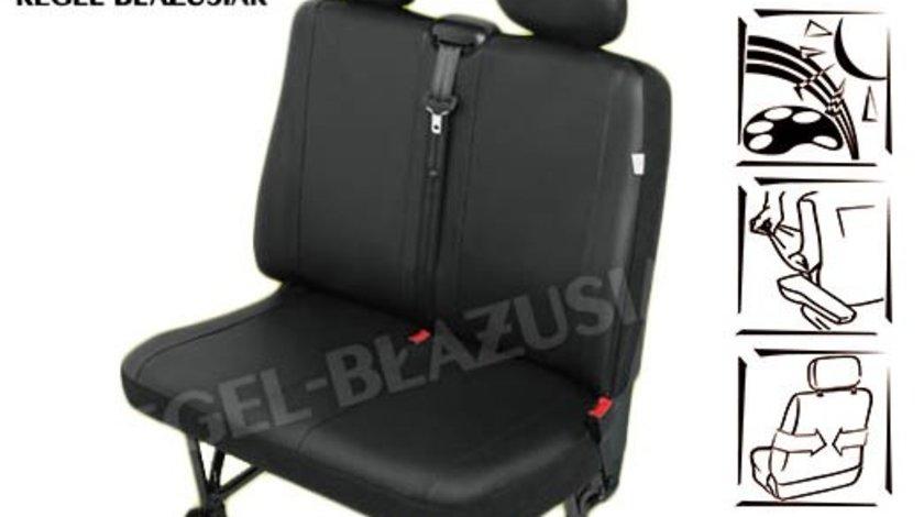 Huse scaun bancheta auto cu 2 locuri din imitatie de piele pentru Jumper Fiat Ducato Ford Transit Iveco Daily Sprinter Boxer Renault Mascot VW Transporter LT Crafter Caravelle
