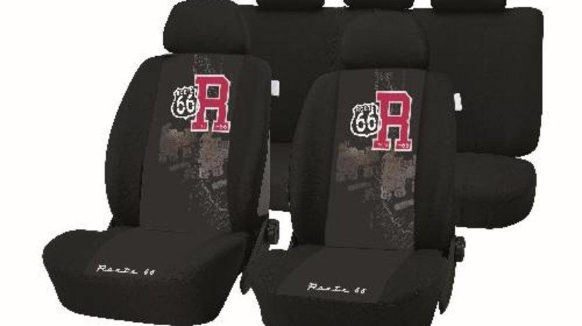 Huse scaune auto Route 66 , set 9 buc fata si spate, culoare negru