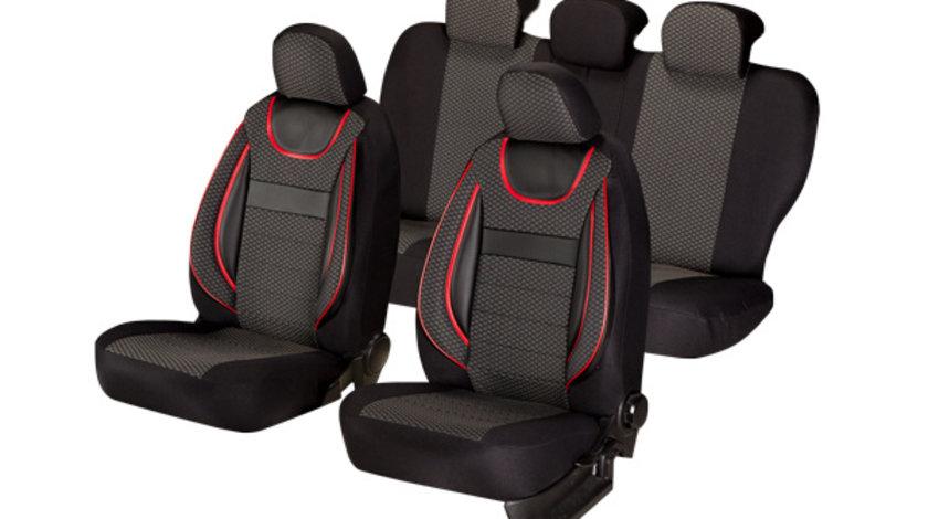 Huse scaune auto Universale, editia Dynamic Negru, Material Textil, Insertii Piele Ecologica, 11 piese