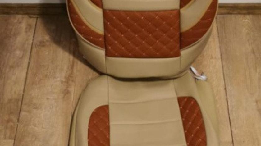 Huse scaune imitație piele crem cu maro