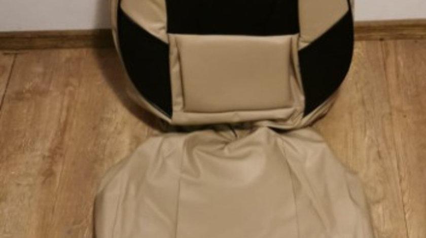 Huse scaune imitație piele crem cu negru