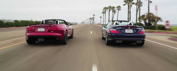 In cautarea roadsterului ideal: Jaguar F-Type V6 S vs Mercedes SLK55 AMG