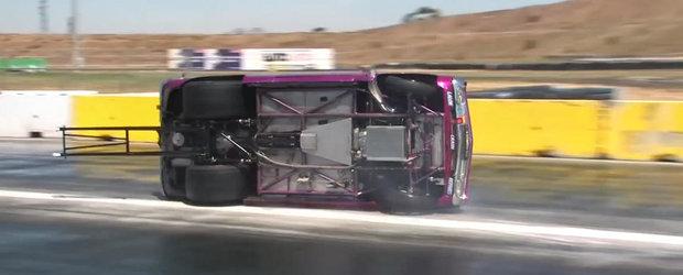 Incalzirea pneurilor la o cursa de drag-race culmineaza cu o rasturnare