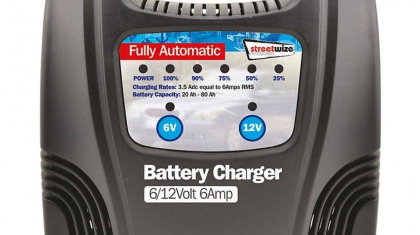 Incarcator acumulator auto automat marca Streetwize 6/ 12V 6Amp redresor cu led nivel incarcare a bateriei