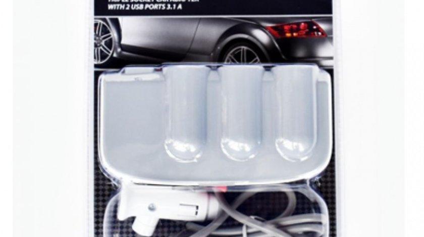Incarcator Auto Mega Drive 2/3 Porturi Usb/Bricheta 3.1A 98515