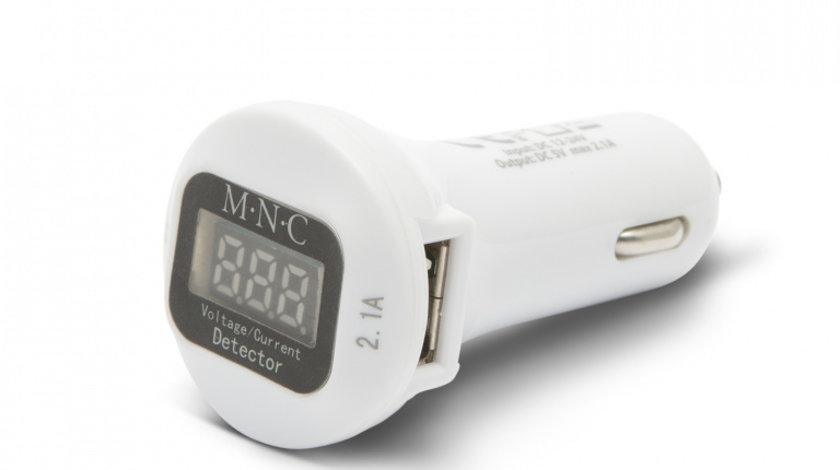 Incarcator USB dublu de la bricheta cu voltmetru cod intern: 55054WH