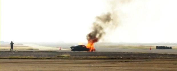 Incident la Texas Mile: Un Corvette cu NOS se aprinde la peste 285 km/h