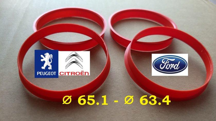 Inele de centrare Ford 65.1 x 63,4 pt a monta pe Ford 63,3 jante  Peugeot-Citroen cu butuc de 65 mm