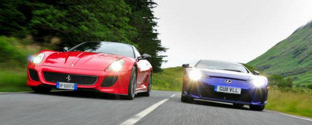 Infruntarea titanilor: Ferrari 599 GTO versus Lexus LFA