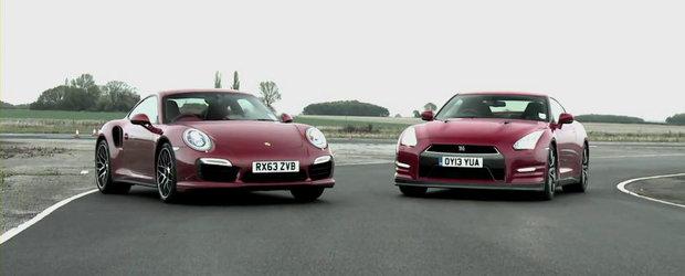 Infruntarea Titanilor: Noul Porsche 911 Turbo S, fata in fata cu Nissan GT-R