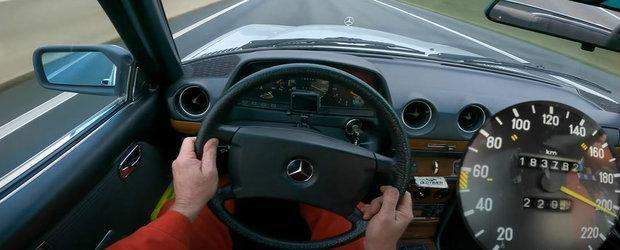 Inginerie germana. S-a filmat cu peste 200 km/h pe Autobahn la volanul unui Mercedes din 1984