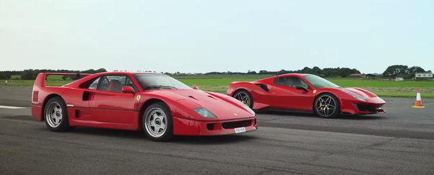 Intalnire de gradul zero la linia de start. Legendarul Ferrari F40 fata in fata cu 488 Pista