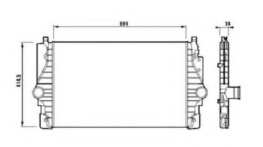 Intercooler, compresor VW TRANSPORTER IV bus (70XB, 70XC, 7DB, 7DW, 7DK) (1990 - 2003) NRF 30873 piesa NOUA