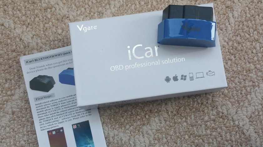 Interfata diagnoza Vgate iCar 3 Bluetooth OBDII OBD2 ELM327 pt. Android iOS PC