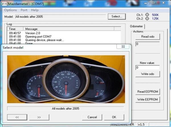 Interfata Mazda modificare KM, reparare / resetare modul airbag