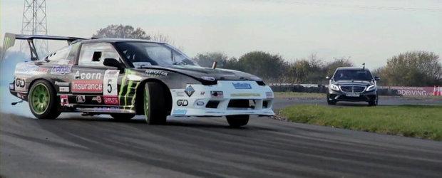Intrecere in pasi de drift intre noul Mercedes S63 AMG si un Nissan 200SX complet modificat