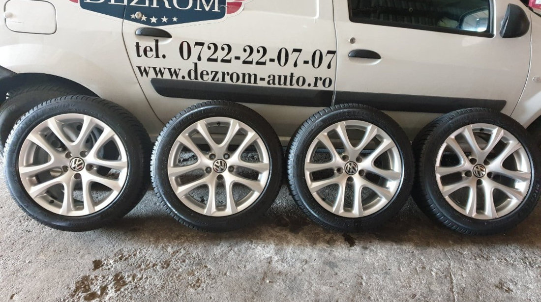 Jante aliaj originale cu anvelope iarna Michelin noi (235/43/R17) Dot 2020 8Jx17H2 ET41 VW Golf 6