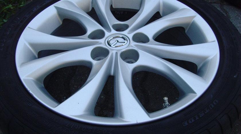 Jante de aliaj 5x114,3 pe 17 originale Mazda (3)/anvelope vara 205/50 R17 Dunlop/senzori de presiune