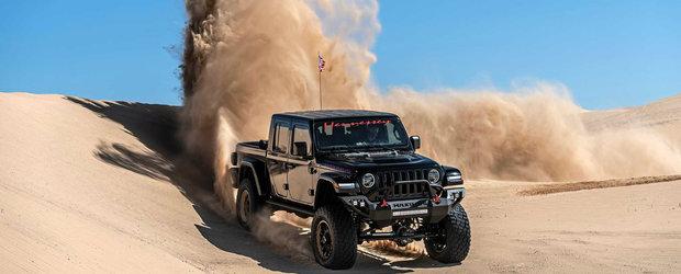 Jeep-ul cu 1000 de cai putere a cucerit desertul. Saritul peste dunele de nisip este sportul lui preferat