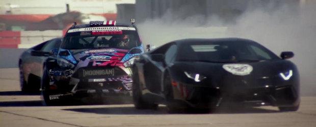 Ken Block face drifturi si cascadorii alaturi de doua Lamborghini-uri in Gymkhana 6