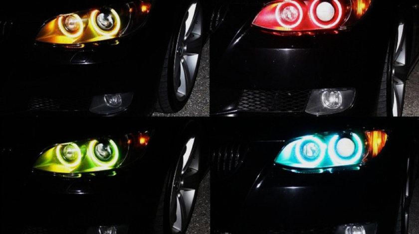 Kit angel eyes SMD Samsung BMW E46/E86/E87/E90/E91/E92/E60/X3, RGB 16 culori cu telecomanda