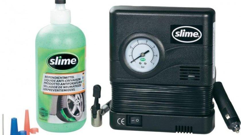 Kit Anti-Pana Slime Smart Repair 473ml + Compresor aer 12V pentru anvelope fara camera lichid reparatie pana instant Kft Auto