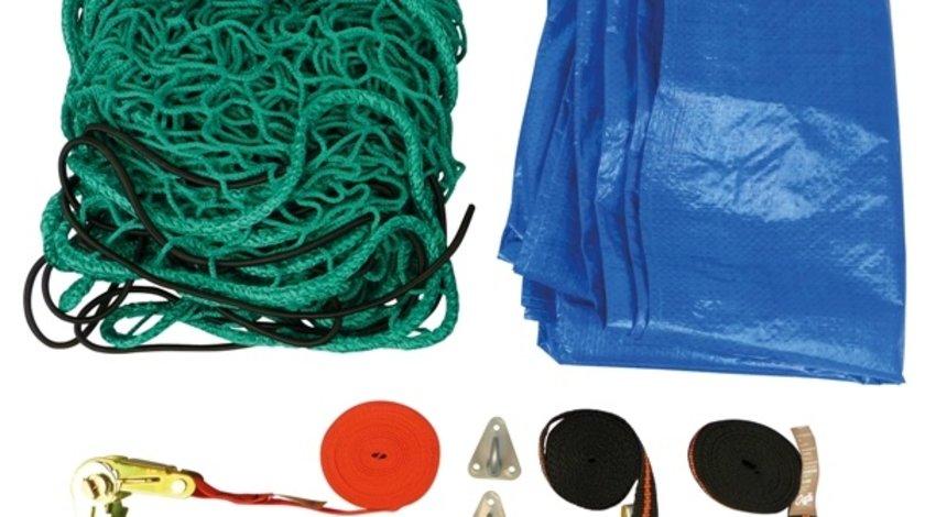 Kit fixare marfa remorca Carpoint 7 piese : plasa 1.5x2.5m , prelata , suruburi , carlige , funie , clichet si doua chingi