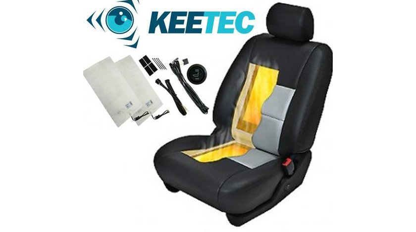Kit Incalzire In Scaune Auto Carbon KEETEC CSH1 by Edotec Butoane HI / OFF / LOW Montaj Profesional